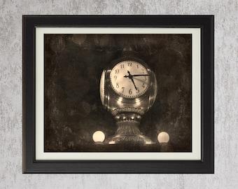 Meet Me At The Clock - Original Photograph - Grand Central Station NYC New York City Landmark Nostalgic Time Black Grey Sepia