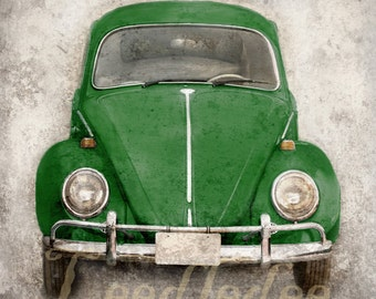 Forest Green VW Beetle (or ANY color) Photo Print Choose Your Size