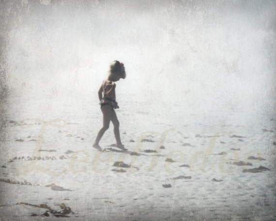 In Solitude - Old Polaroid Style Vintage Look Original Photograph 8x10 - Little Girl Walking on the Beach