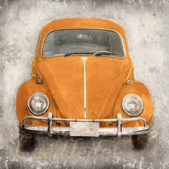 Orange Bug (or CHOOSE your color) - Vintage Style Photo Print - Volkswagen Beetle Nostalgic Car Distressed Home Decor Personalize