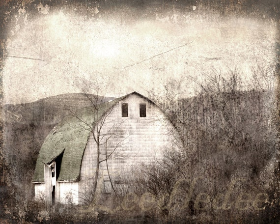 The Old Barn - Textured Vintage Style Original Photograph 8x10 - Grey Muted Tones Farmhouse Shabby Chic Rustic Cottage Home Decor
