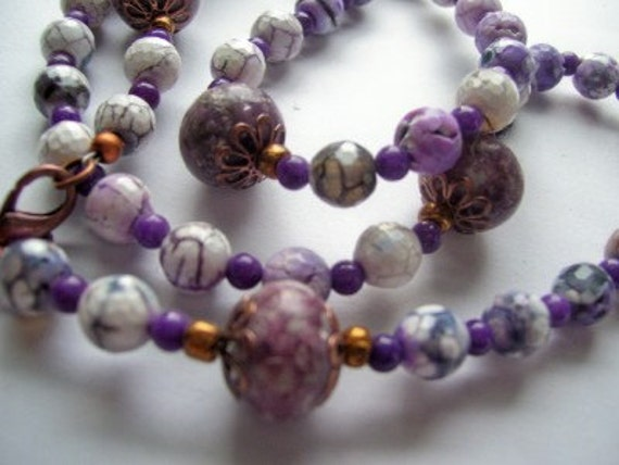Purple Fire Crackled Agate and Labradorite Long Necklace