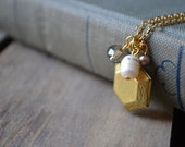 Golden Hexagon Locket Necklace