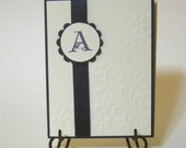 Embossed personalized card - Initial Embossed Personalized Handmade card