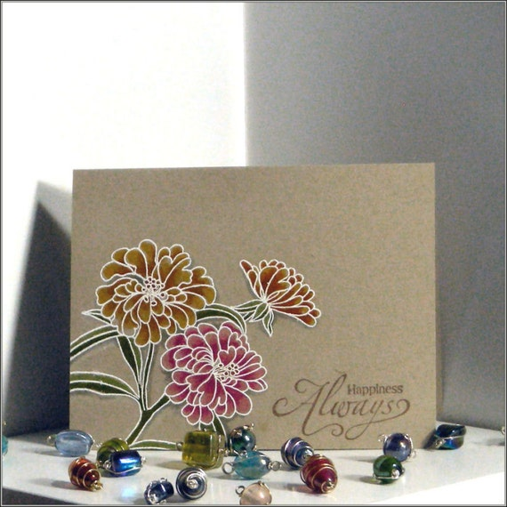 Happiness Always - Floral Watercolor Friendship Thinking of You Handmade card