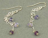 Purple Sparkle long silver earrings