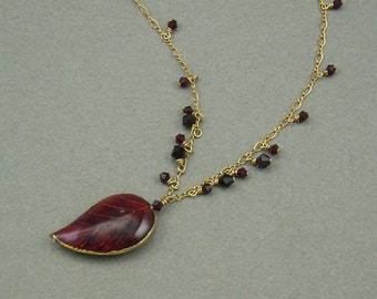 Fall Leaf gold necklace