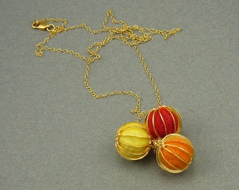 Aromatherapy trio gold necklace