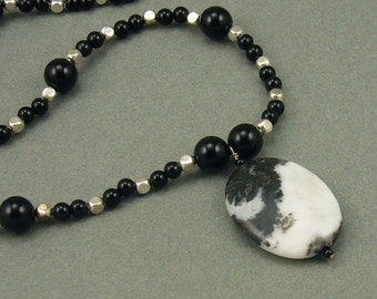 Zebra Onyx silver necklace