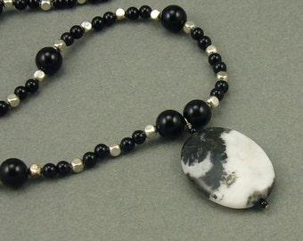 Zebra Onyx silver necklace