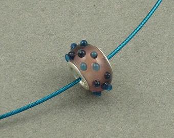 Teal Polka add-a-bead choker