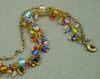 Brass 'n' Glass Cluster Anklet