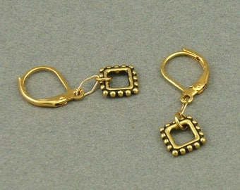 Double Diamond gold earrings
