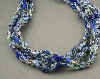 Sky and Ocean Crochet Ribbon Necklace
