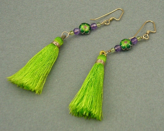 Peridot Tassel flower earrings