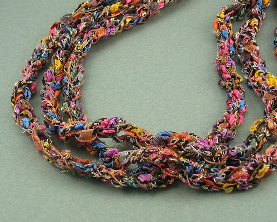 Everything I Love Crochet Ribbon Necklace