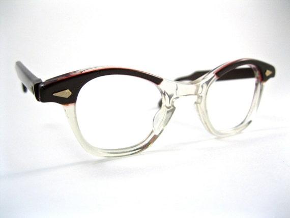 tart optical leading liz cat eye glasses. mink (red/brown). horn rimmed style. NOS/deadstock new old stock OTE arnel. 42 24 size.