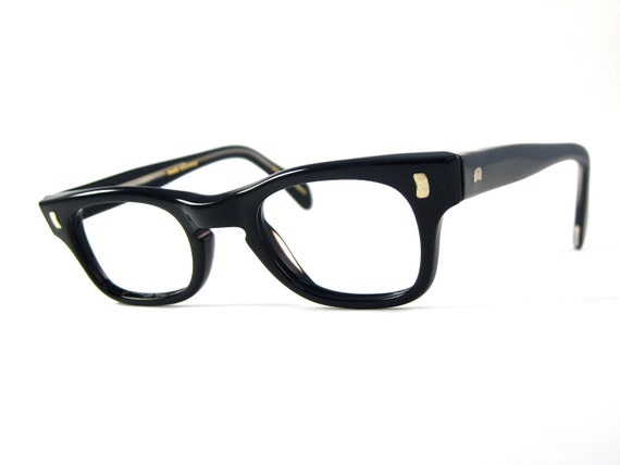 black plastic horn rimmed glasses. new old stock NOS Liberty optical. 44-22 Take Charge style.