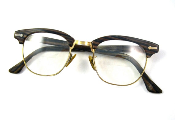 Wood Frame Safety Glasses : wood grain horn rimmed glasses. gold rims. shuron by holdenism