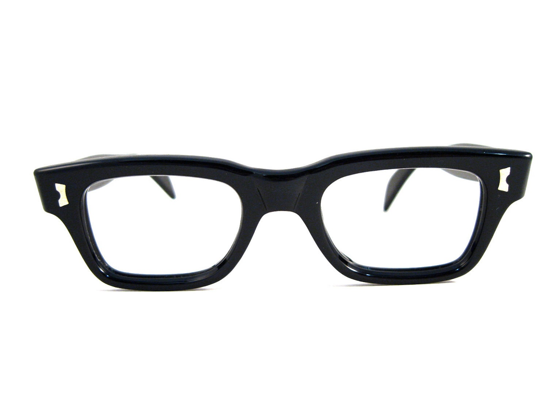 427e3280961 black horn rimmed mens unisex glasses. new old stock NOS. SRO