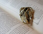 Woodland Wanderings Vintage 50s Gold Metal Scarf Clip with Leaves & Scroll Work