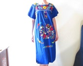 Vintage 70s Mexican Embroidered Peasant Dress. Peacock and Flowers on Blue. Size S to M.