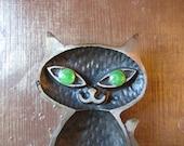 Vintage Metal Green Eyed Black Cat. Vanity Dish.