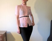 Vintage 80s Sheer Pink Ruffle Secretary Blouse. Sexy Librarian. Size M.