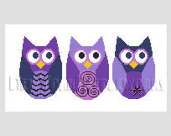 Owls Cross Stitch Pattern, Cross Stitch Pattern, Purple Owls Pattern, Owls Pattern, Needlepoint Patterns, Owls by NewYorkNeedleworks on Etsy