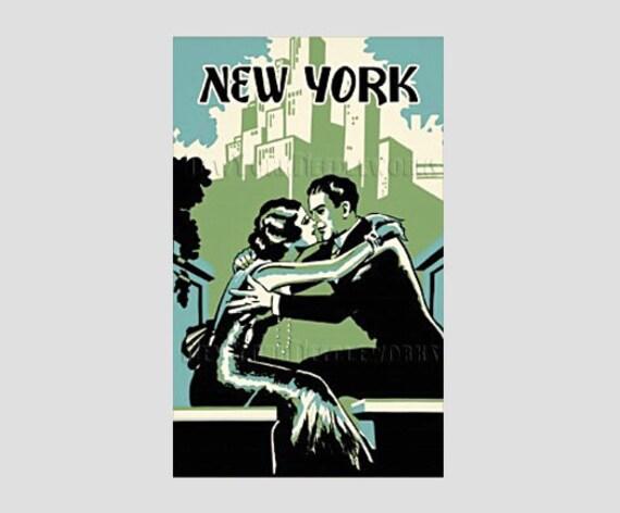 Retro New York Poster Pattern, Cross Stitch Couple, Art Deco Pattern, Couple in Love Cross Stitch, New York by NewYorkNeedleworks on Etsy