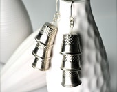 Three Thimble Earrings, Seamstress Gift, Earrings Found Object Jewelry