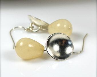 Yellow and Silver Earrings, Teardrop Bead Earrings, Springtime Jewelry