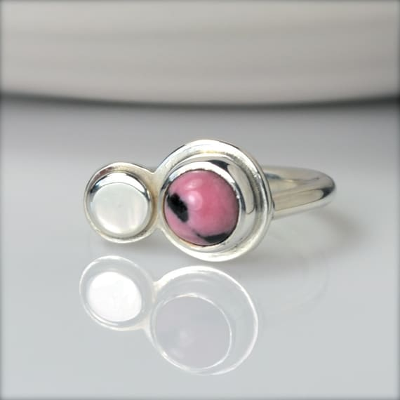 Pink Ring, Silver and Pink Ring, Rhodochrosite Jewelry