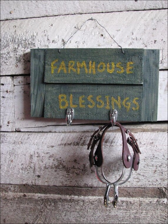 READY to ship - Homemade Country American Farmhouse Blessings Sign With Chrome Hooks by VinTin