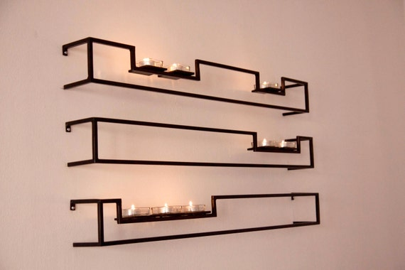 Set of 3 Hand Made Contemporary Floating Candle Sconces by VinTin