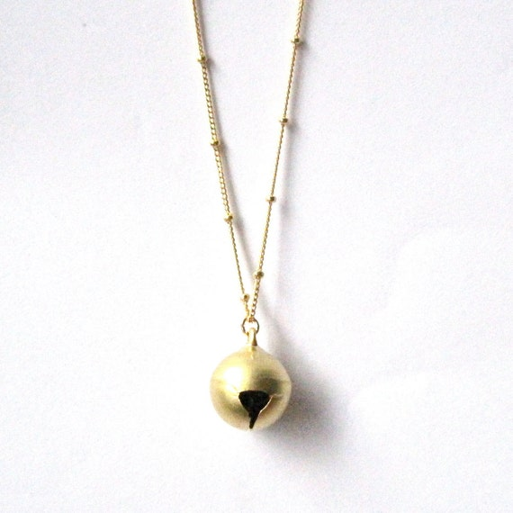 Gold Bell Necklace - 16k gold plated