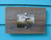 Recycled wood picture frame, upcycled rustic meets modern cool.