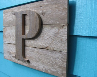 recycled wooden wall plaque, letter initial wall decor