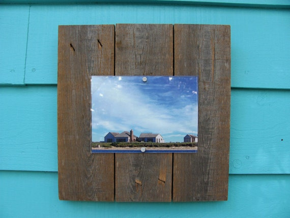 Recycled wood picture frame, 5 X 7, upcycled rustic meets modern cool.