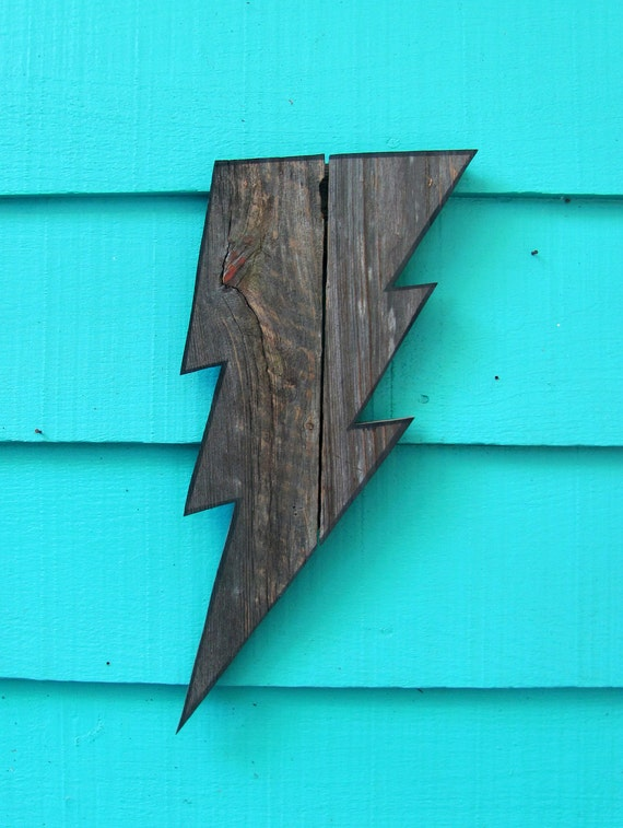 Lightning Bolt.   Made of recycled wood, wooden wall art, upcycled