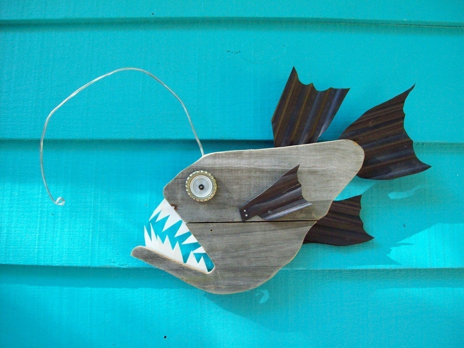 Anglerfish upcycled made of recycled wood angler fish for Outside fish