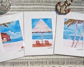 Original Island Breeze Artwork (3) Print SET Blue Ocean