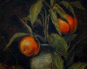 Traditional Artwork Oranges Plant Impressionism Still Life on Table 11x14 Reproduction Affordable Kitchen Wall Decor