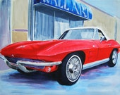 Red Beauty 1964 Convertible Corvette White Top RED Vintage Painting 11x14 Print