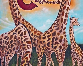 Giraffes on the Circle Circus Poster Inspired St Armands Circle Florida Original Painting Reproduction 11x14 Print