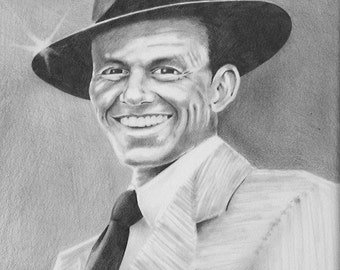 Frank Sinatra Original Reproduction Black and White Drawing Print 11x14 Ole' Blue Eyes