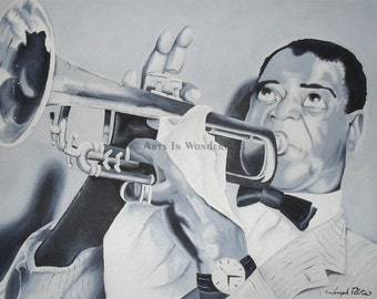 Louis Armstrong Portrait with trumpet Original Painting  Poster Print 11x14 Artwork