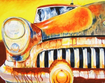 Too Much Sun - Old Rusty Vintage 1953 Buick Car - Acrylic Original Painting Reproduction 11x14 Print