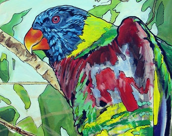 Paint by Numbers Tropical Colorful Bird Parrot like Original Pop Art Artwork reproduction 11x14 Print