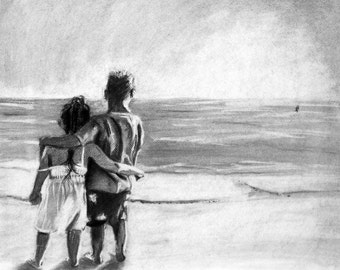 Friends Forever Original Pastel Drawing Reproduction 11x14 Print Kids on the Beach Black and White Impressionism